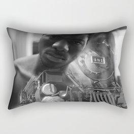 Man and the train Rectangular Pillow
