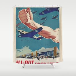 Vintage poster - All-Out Production Shower Curtain