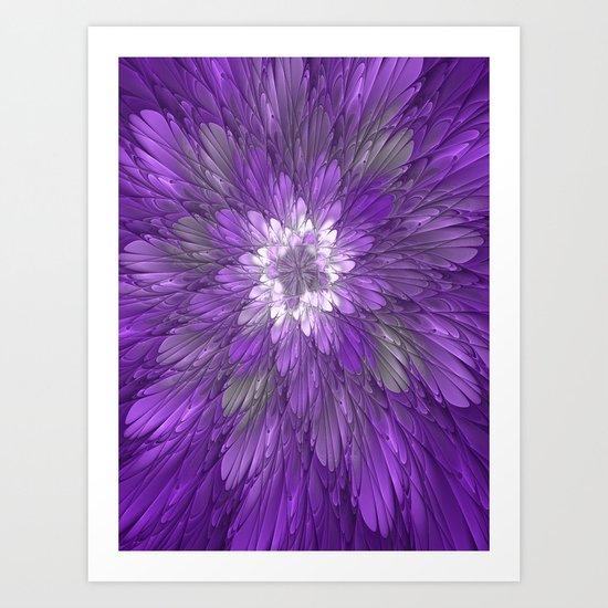 Psychedelic Purple Flower, Fractal Art Art Print