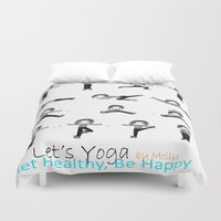 yoga Duvet Covers featuring yoga by Indraart