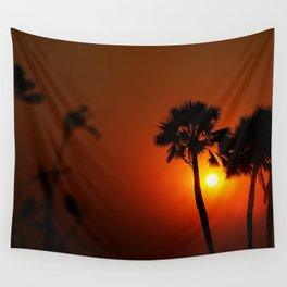 The Red Tropical Sunset (Color) Wall Tapestry
