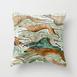 Running Greyhounds Throw Pillow