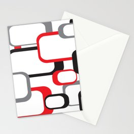 Red Black Gray Retro Square Pattern White Stationery Cards