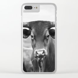 Longhorn in Black and White Clear iPhone Case