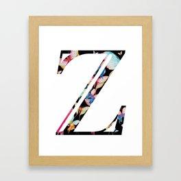Butterfly Initial 'Z' Print Framed Art Print