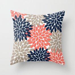 Tan Coral Navy Flower Burst Floral Pattern Throw Pillow