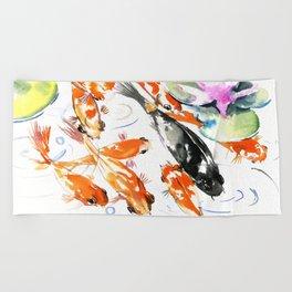Nine Koi Fish, 9 KOI, feng shui artwork asian watercolor ink painting Beach Towel