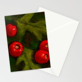 Hawthorn Berries, Oil Pastel Painting Stationery Cards