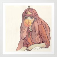 bubblegum Art Prints featuring Bubblegum by Little Thunder