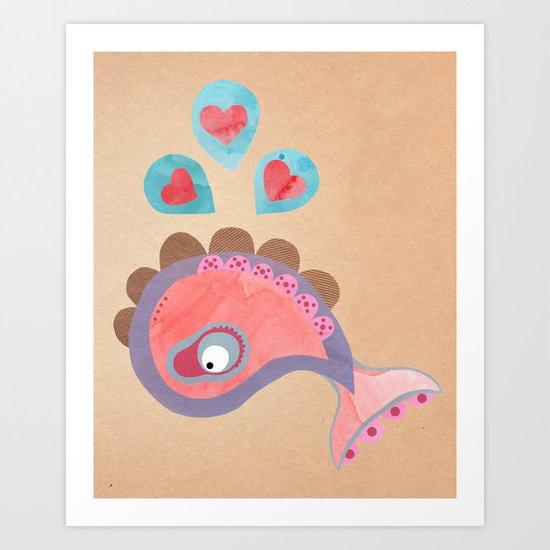 love whale Art Print