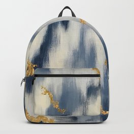 Blue and Gold Ikat Pattern Abstract Backpack