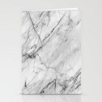 white marble Stationery Cards featuring Marble by Patterns and Textures