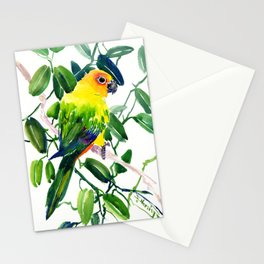 Sun Conure Parakeet, jungle tropical colors, parrot yellow deep green bright colored home decor Stationery Cards