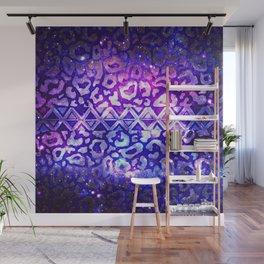TRIBAL LEOPARD GALAXY Animal Print Aztec Native Pattern Geometric Purple Blue Ombre Space Galactic Wall Mural
