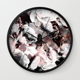 flowers - roses and black marble Wall Clock