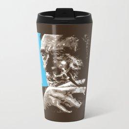 Charles BUKowski - POP-ART - sepia blue Metal Travel Mug