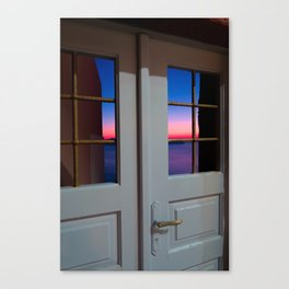 Sunset through the door Canvas Print