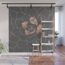 Rosegold  blossom on grey - Pink metal - effect flower Wall Mural