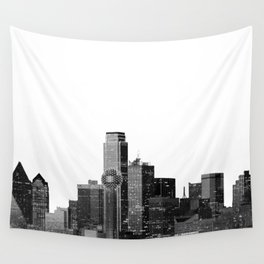 Dallas Texas Skyline in Black and White Wall Tapestry