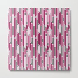 Modern Tabs in Rosy Pinks on Gray Metal Print