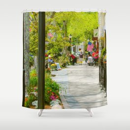 Summer view of Main Street, Falmouth on Cape Cod Shower Curtain