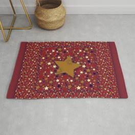 Gold Star Red Rug