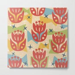 Mid Century Modern Butterfly Garden 201 Metal Print