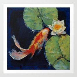 Koi and White Lily Art Print