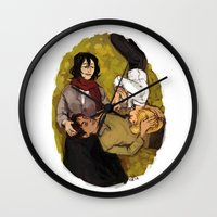 attack on titan Wall Clocks featuring A Nap on Titan by crowry