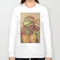 ninja turtle Long Sleeve T-shirts featuring zombie ninja turtle by mileshustonart
