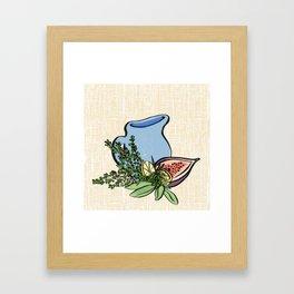Pitcher and Herbs on Linen Framed Art Print