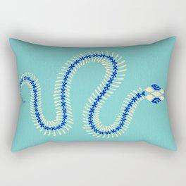 Snake Skeleton – Blue & Cream Rectangular Pillow