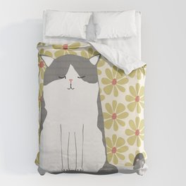 Cat and mouse illustration Duvet Cover