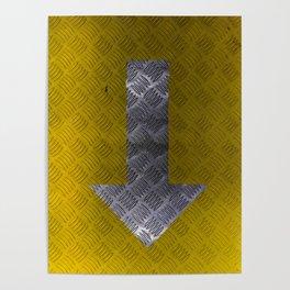 Industrial Arrow Tread Plate - Down Poster