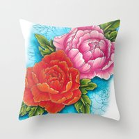 peonies Throw Pillows featuring peonies by missfortunetattoo