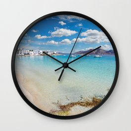 Ammos beach and the port of Koufonissi island in Cyclades, Greece Wall Clock