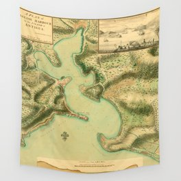 Map Of Antigua 1752 Wall Tapestry