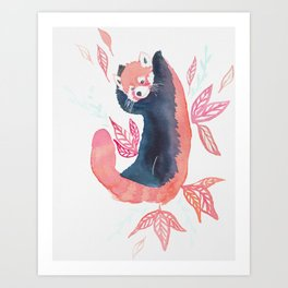Red panda joy watercolor Art Print