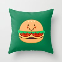 burger Throw Pillows featuring Burger by AnishaCreations