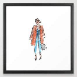 "Jenna Lyons - ""coat over shoulders"" Framed Art Print"