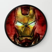 iron man Wall Clocks featuring Iron Man by SachsIllustration
