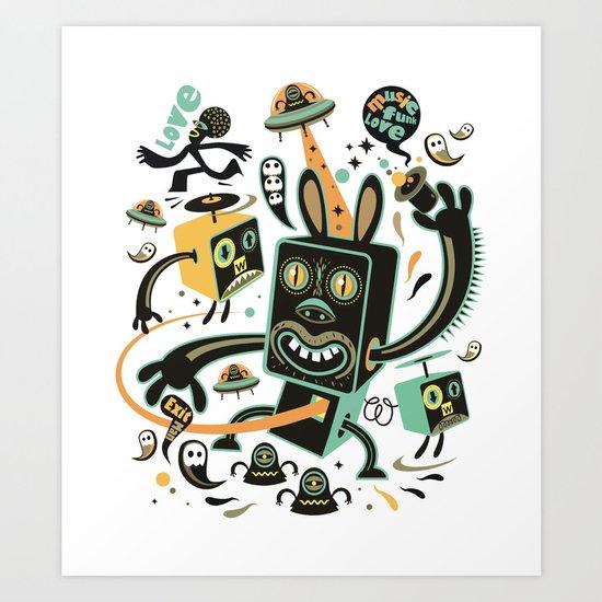 Little Black Magic Rabbit Art Print