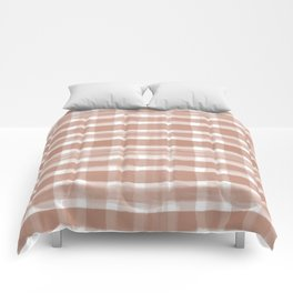 Cavern Clay SW 7701 Watercolor Brushstroke Plaid Pattern on White Comforters