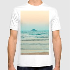 Alone in the Sea MEDIUM Mens Fitted Tee White