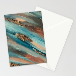 Colorful Paint Brushstrokes Gold Foil Stationery Cards