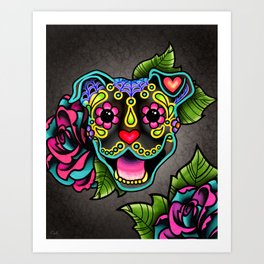 Smiling Pit Bull in Brindle - Day of the Dead Pitbull Sugar Skull Art Print