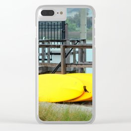 Four Yellow Surfboards Clear iPhone Case