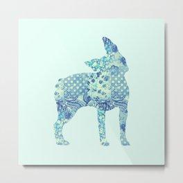 Boston Terrier Dog Vintage Floral Pattern Blue Shabby Chic Metal Print