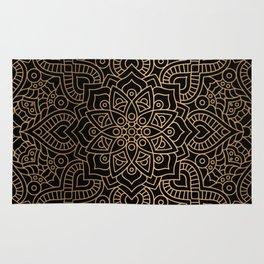 Black Gold Mandala Rug