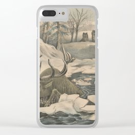 Vintage Wolf Pack Hunting a Moose Illustration Clear iPhone Case